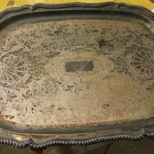 Silver plated vintage serving tray...butler tray